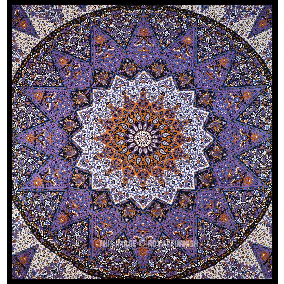 Purple 3 D Medallion Star Mandala Tapestry Hippie Wall