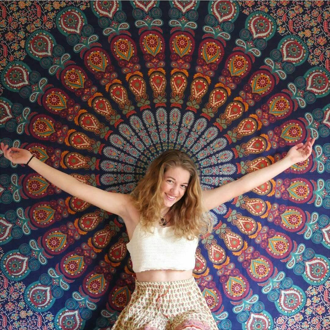 Blue Multi Plum And Blow Medallion Wall Tapestry Hippie