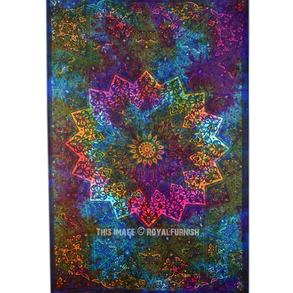 Multi Tie Dye Star Elephant Mandala Tapestry Hippie Wall