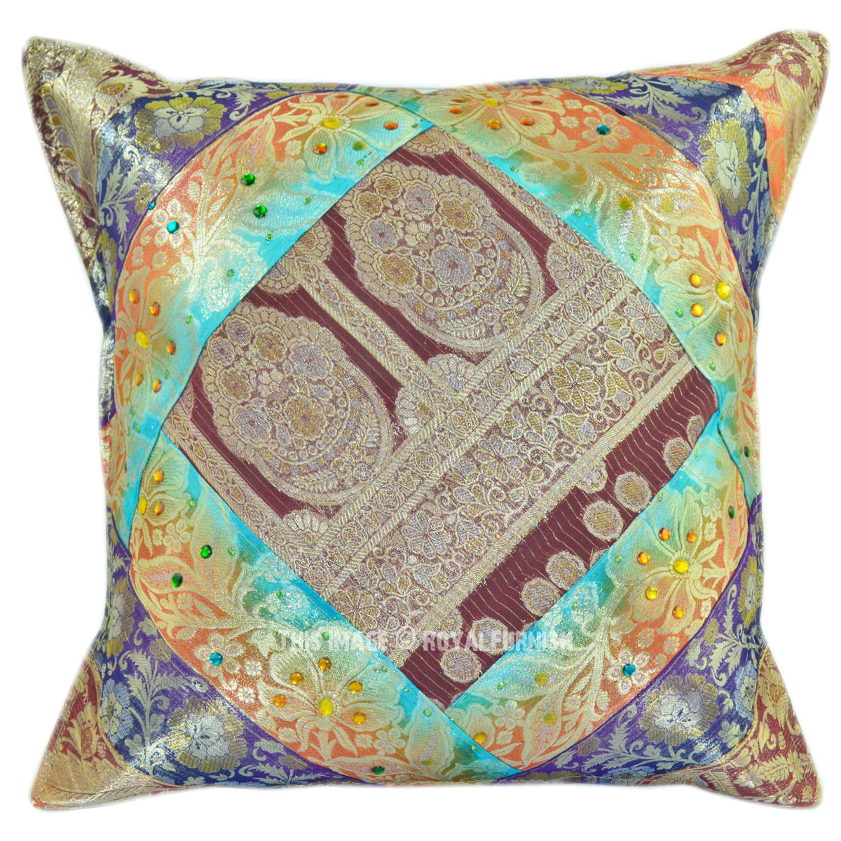 Sequin Elephant Throw Pillow : Multi Floral Sequin and Striped Unique One-of-a-kind Pillow Cover - RoyalFurnish.com