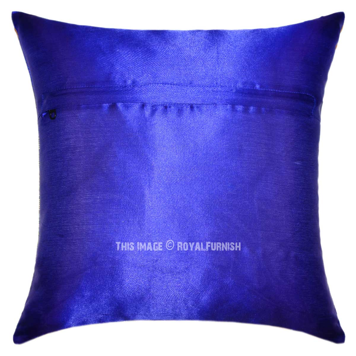 Blue Medallion Circle Decorative and Accent Silk Pillow Cover - RoyalFurnish.com