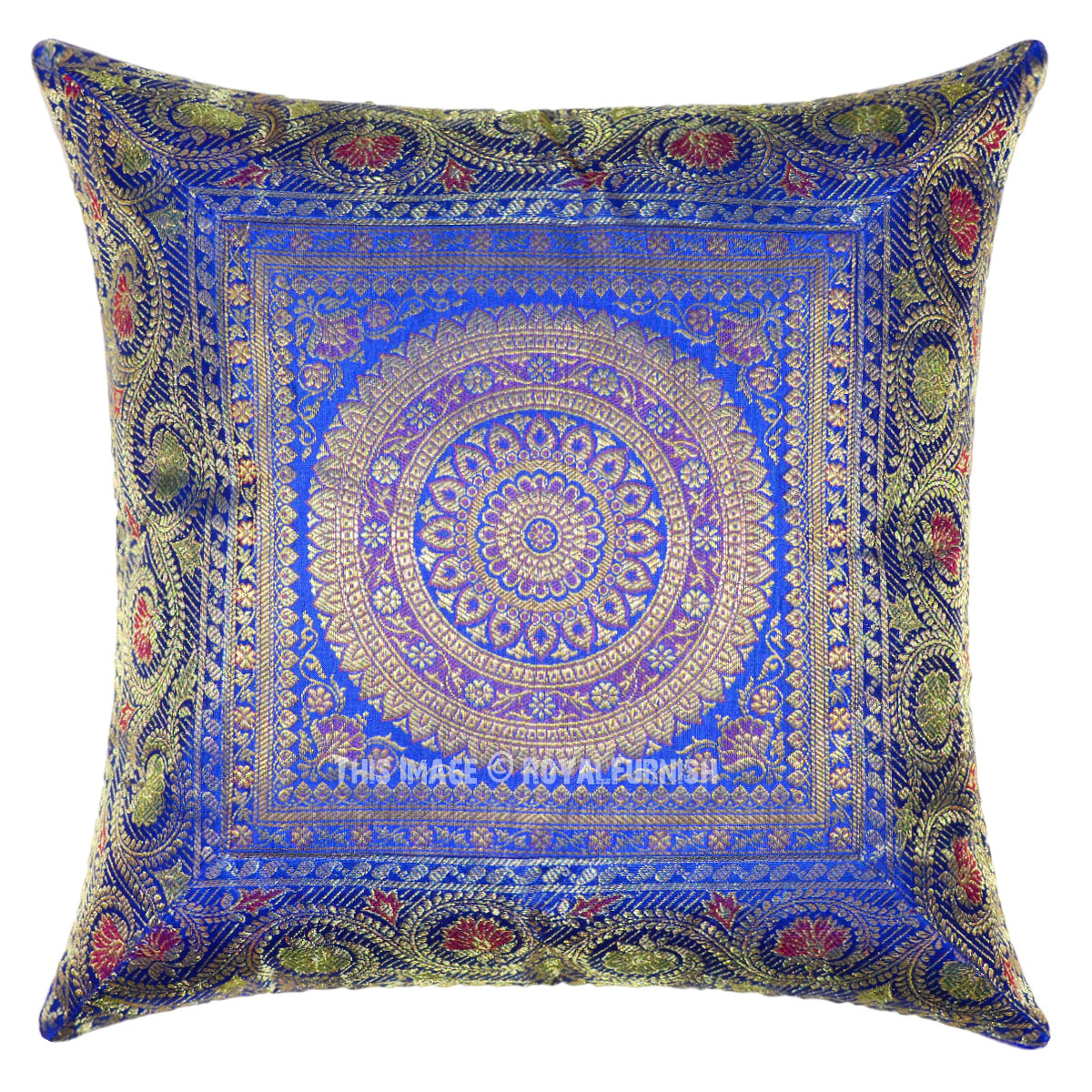 Blue Medallion Circle Decorative And Accent Silk Pillow