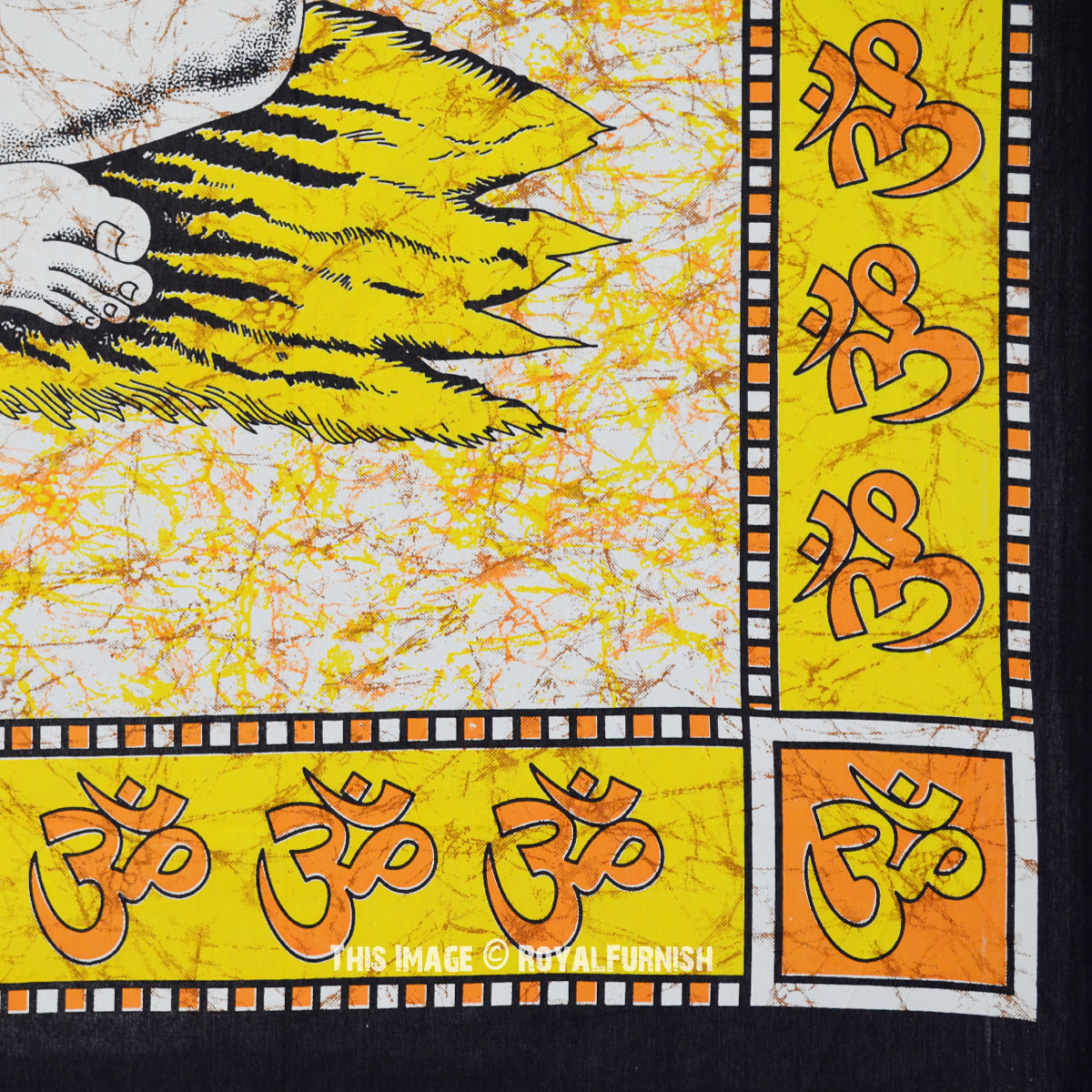 Yellow & Orange Large Batik Pattern Lord Shiva Wall Tapestry ...