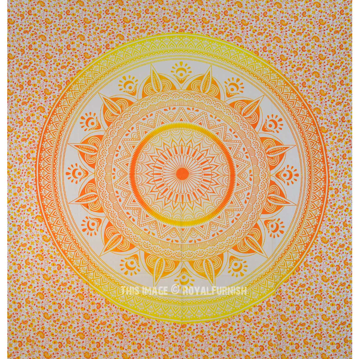 Classy Yellow Ombre Leafs Circle Medallion Tapestry