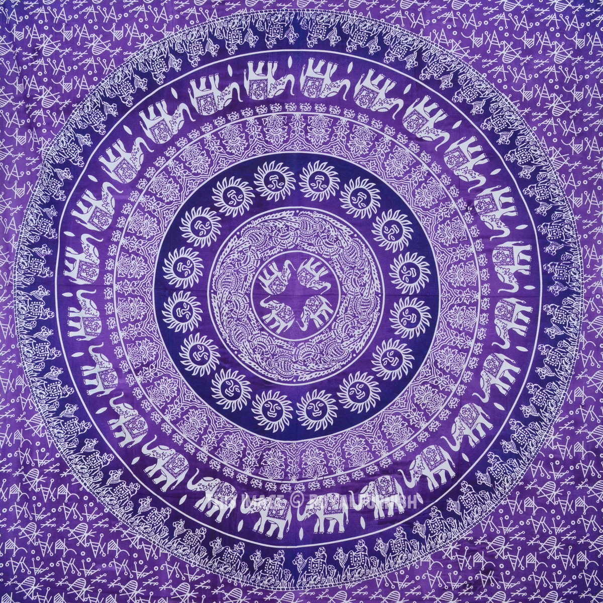 Purple Multi Elephants Sun Ombre Mandala Wall Tapestry
