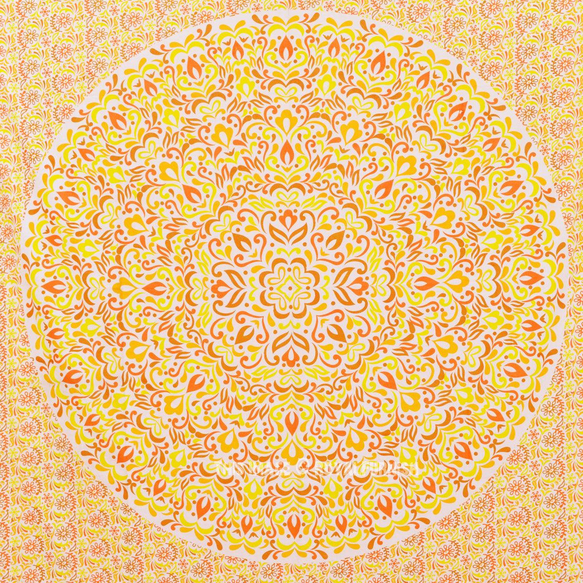 Yellow Multi Ombre Leaf Medallion Wall Tapestry Bohemian