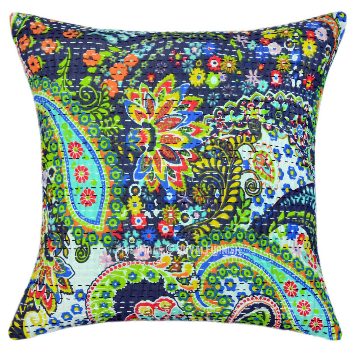 16 inch decorative grey paisley kantha cotton throw pillow cover - What is a throw pillow ...