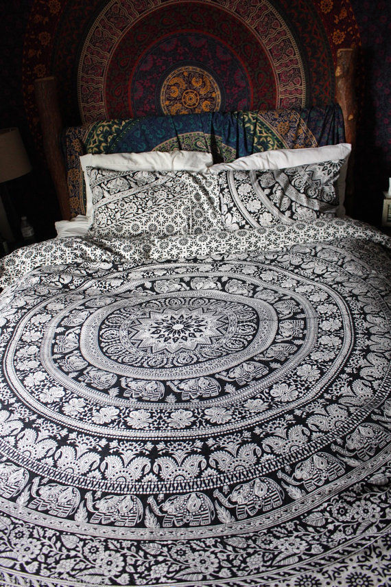 Black Amp White Elephant Mandala Circle Duvet Cover Set With