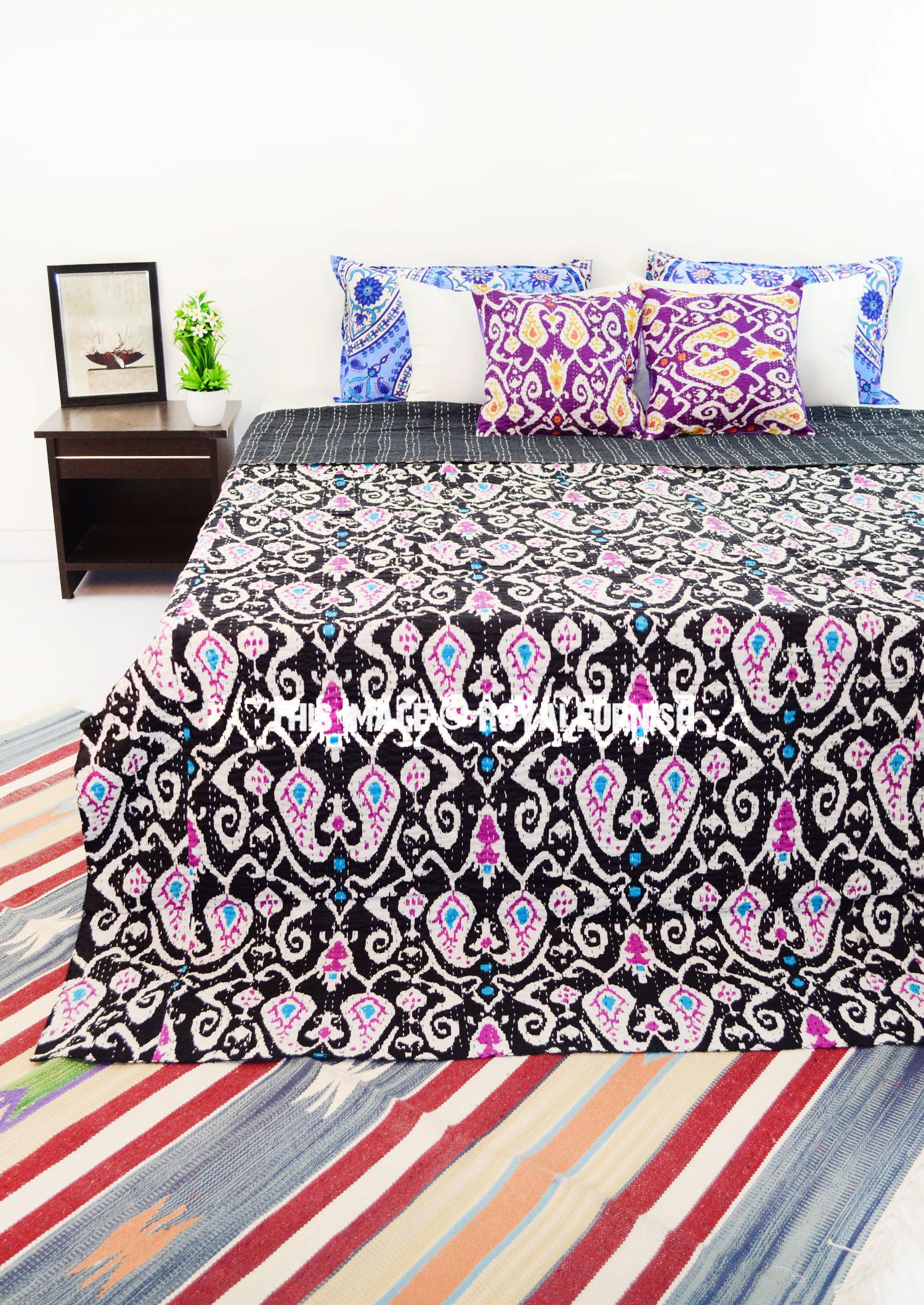 Black Queen Size Paisley Ikat Kantha Quilt Blanket Bedding
