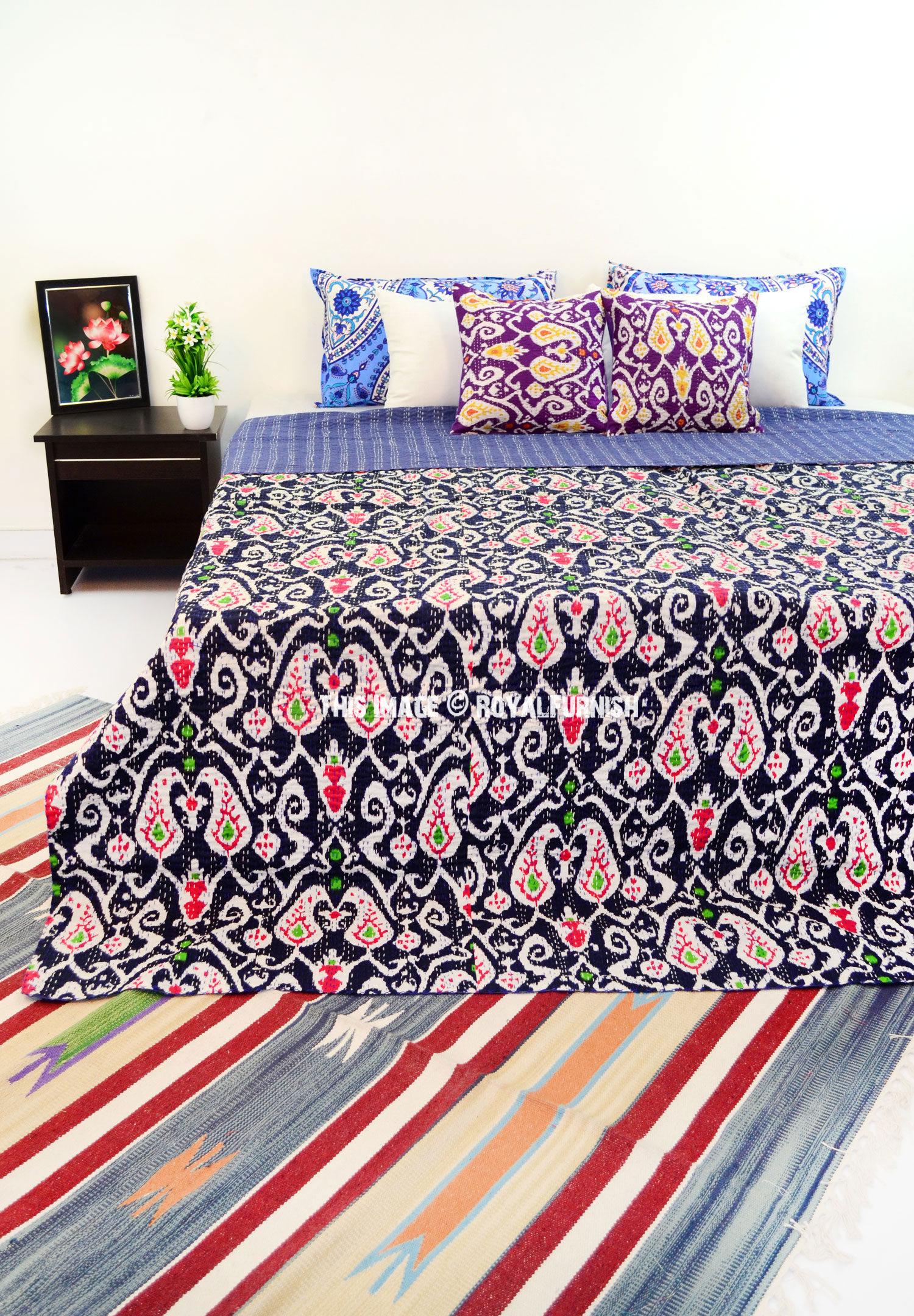 Blue Queen Size Paisley Ikat Kantha Quilt Blanket Bedding