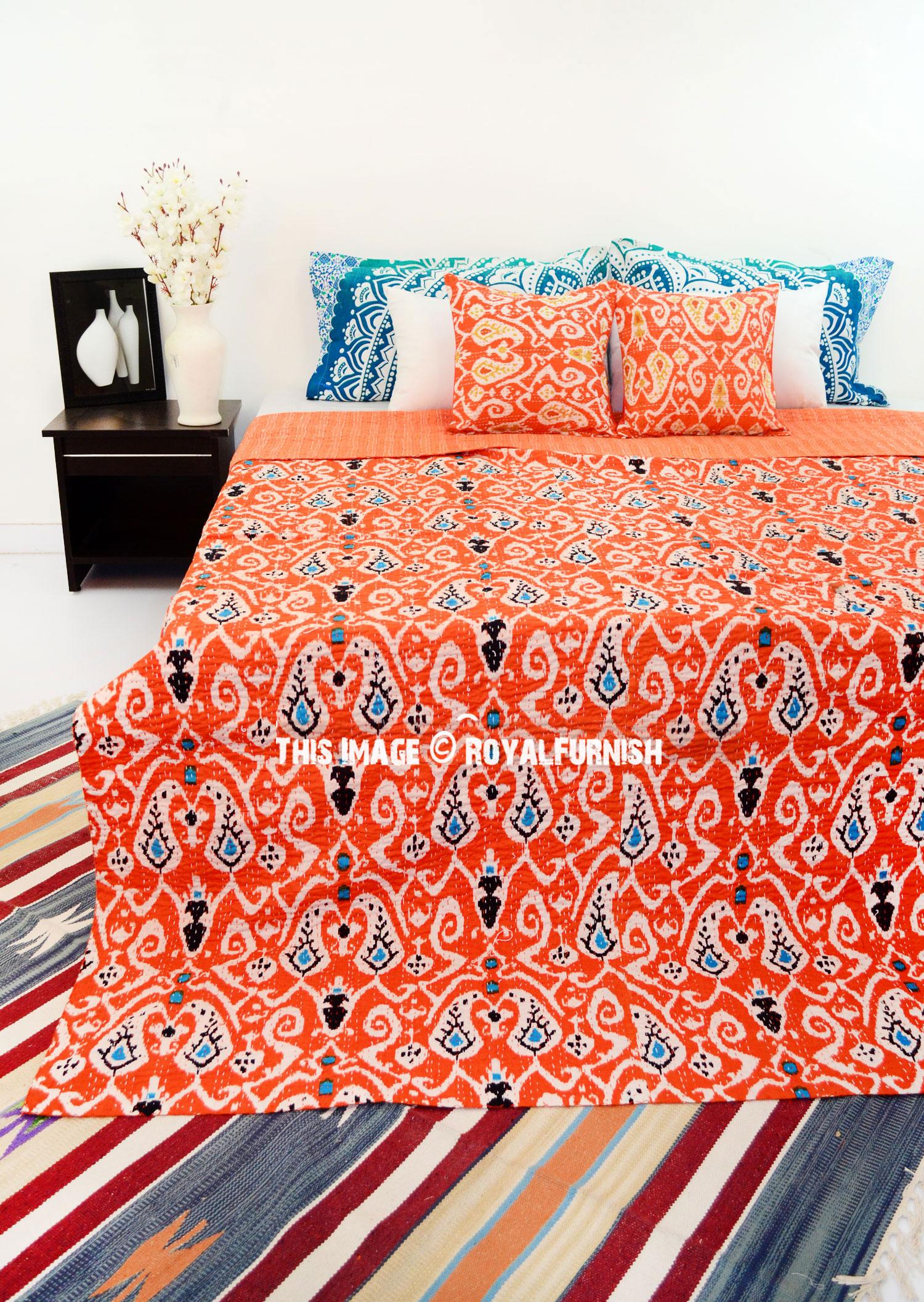 Orange Queen Size Paisley Ikat Kantha Quilt Blanket