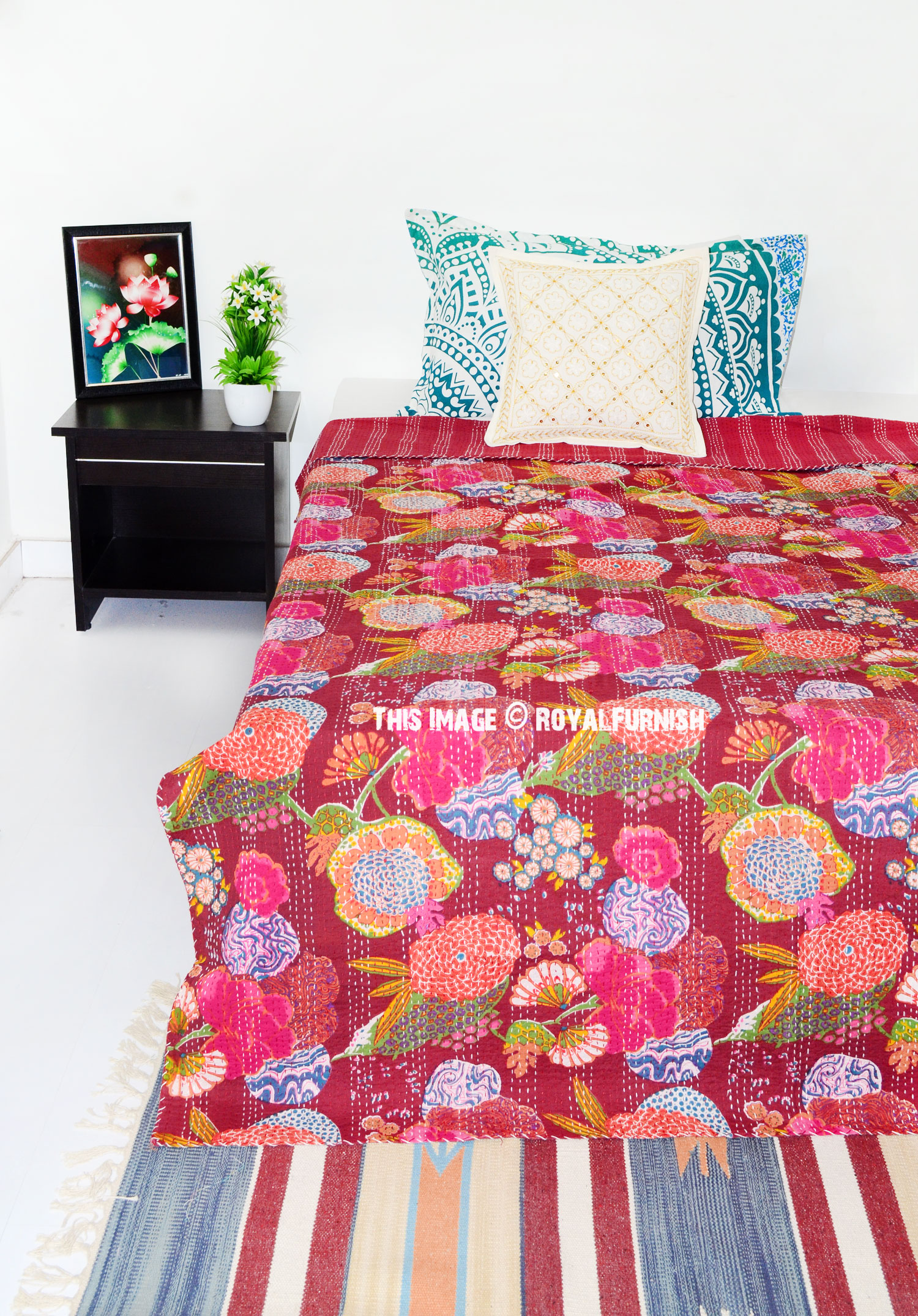 Maroon Multi Tropicana Floral Twin Size Kantha Quilt