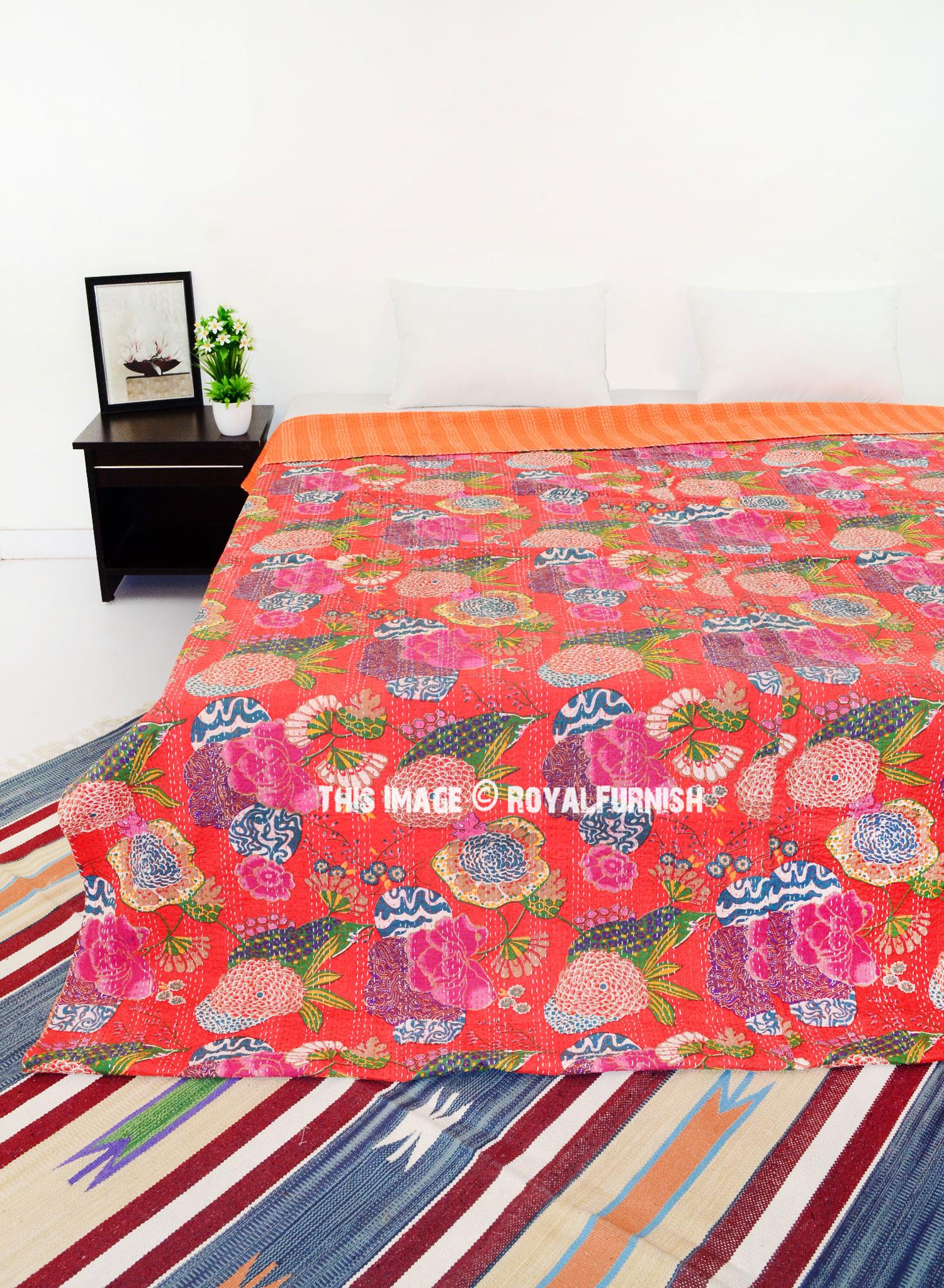 Orange Floral Patterned Indian Kantha Quilt Bedding Throw