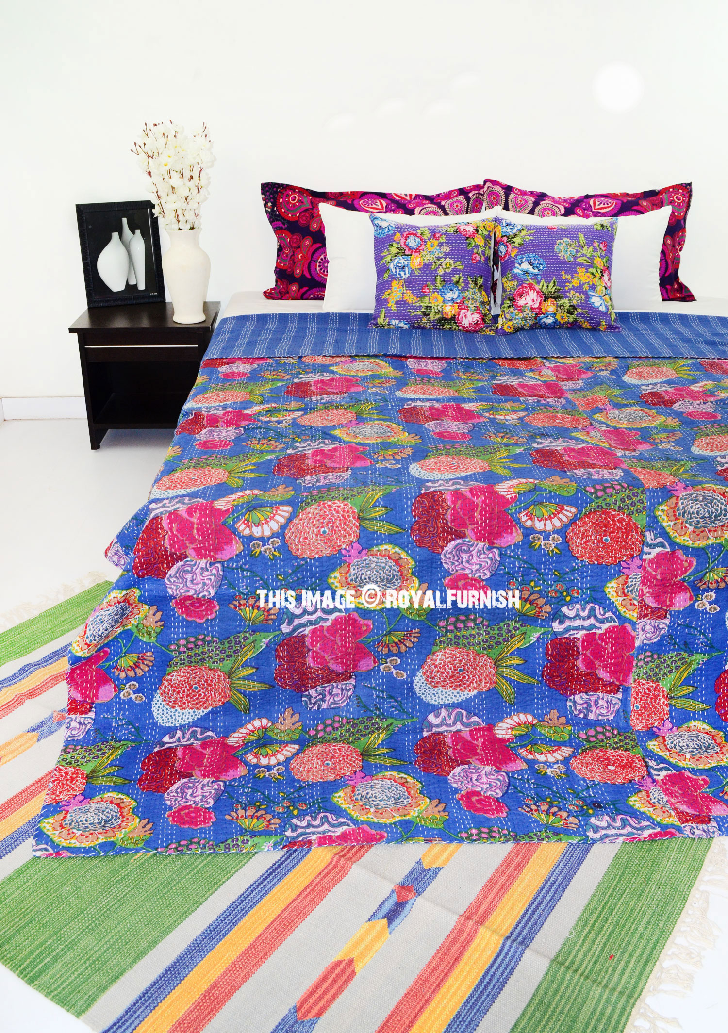 Queen Size Blue Tropicana India Made Kantha Bedspread