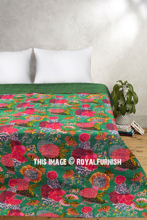 Green Queen Size Fruits Flowers Printed Cotton Kantha