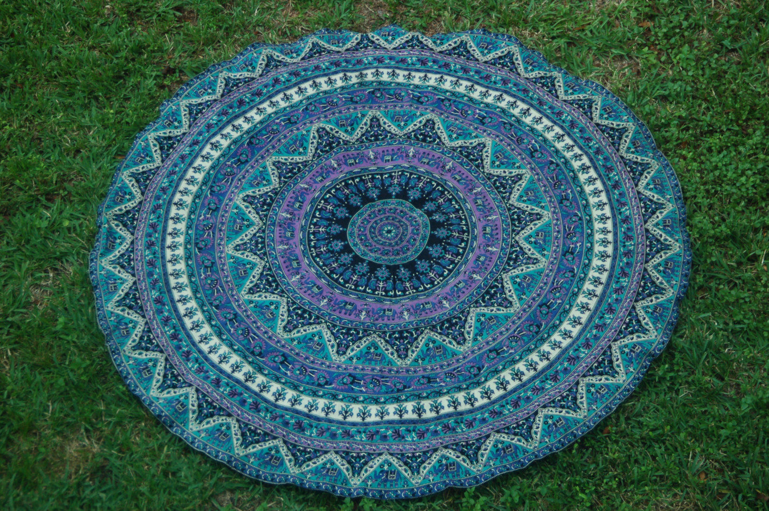 Purple Kerala Mandala Medallion Roundie Beach Throw
