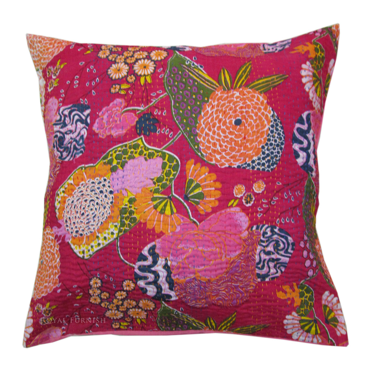 24 Quot Inch Red Indian Kantha Floral Cotton Throw Pillow