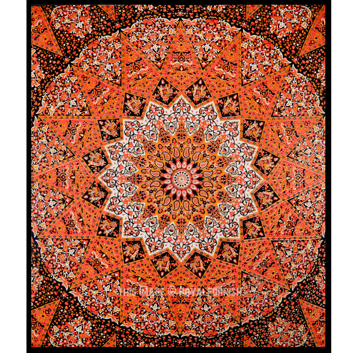 Orange Plum And Bow 3 D Star Medallion Wall Tapestry