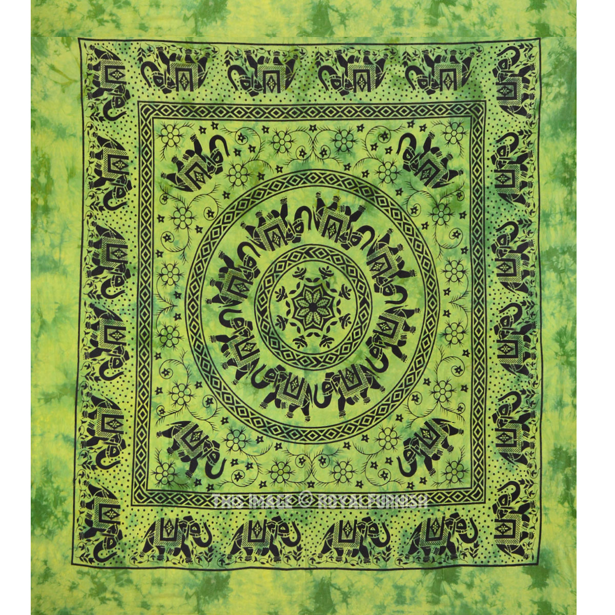Large Green Herd Of Elephants Mandala Circle Cotton