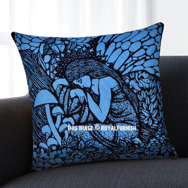 Blue Fairy Tale Queen Decorative Tie Dye Hippie Pillow