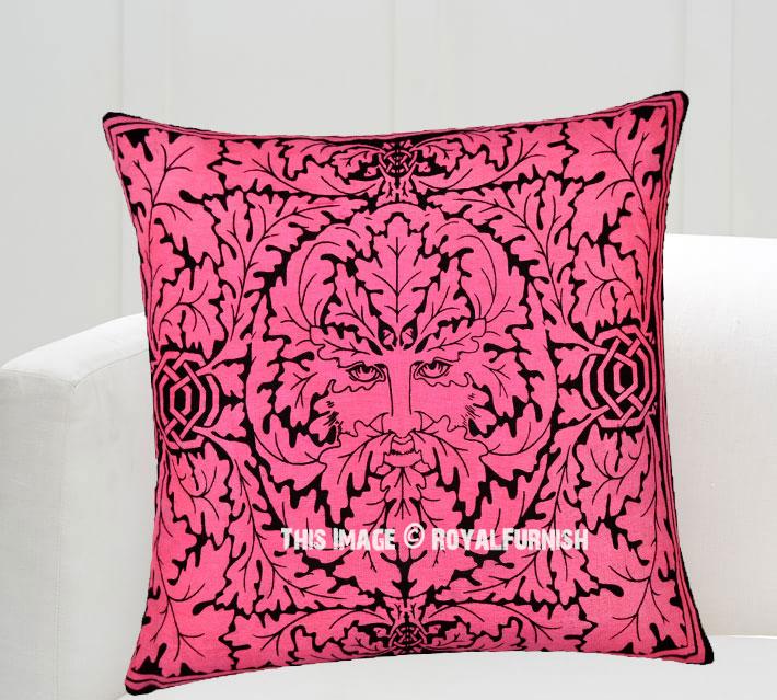 Pink Greenman Face Decorative Tie Dye Throw Pillow Cover 16X16 - RoyalFurnish.com