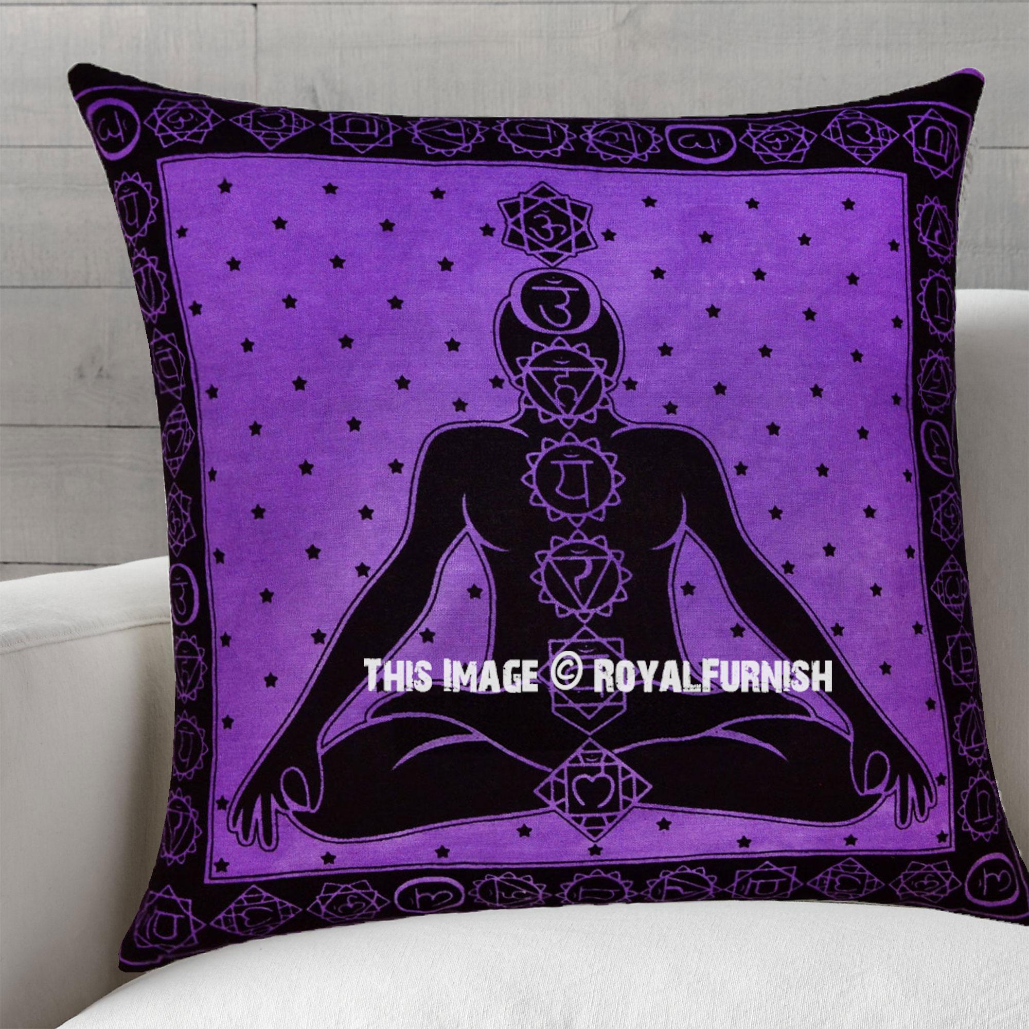 Purple Decorative And Boho Accent Yoga Meditation Chakras Tie Dye Pillow Cover