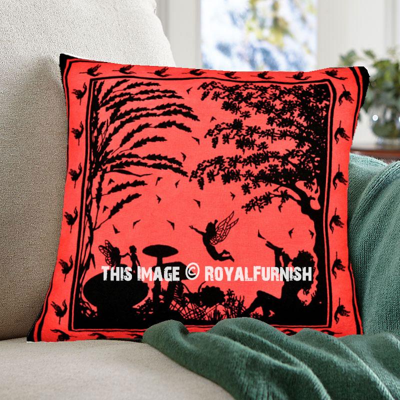 Red Multi Fairy Land Decorative Cotton 16X16 Tie Dye Pillow Cover - RoyalFurnish.com