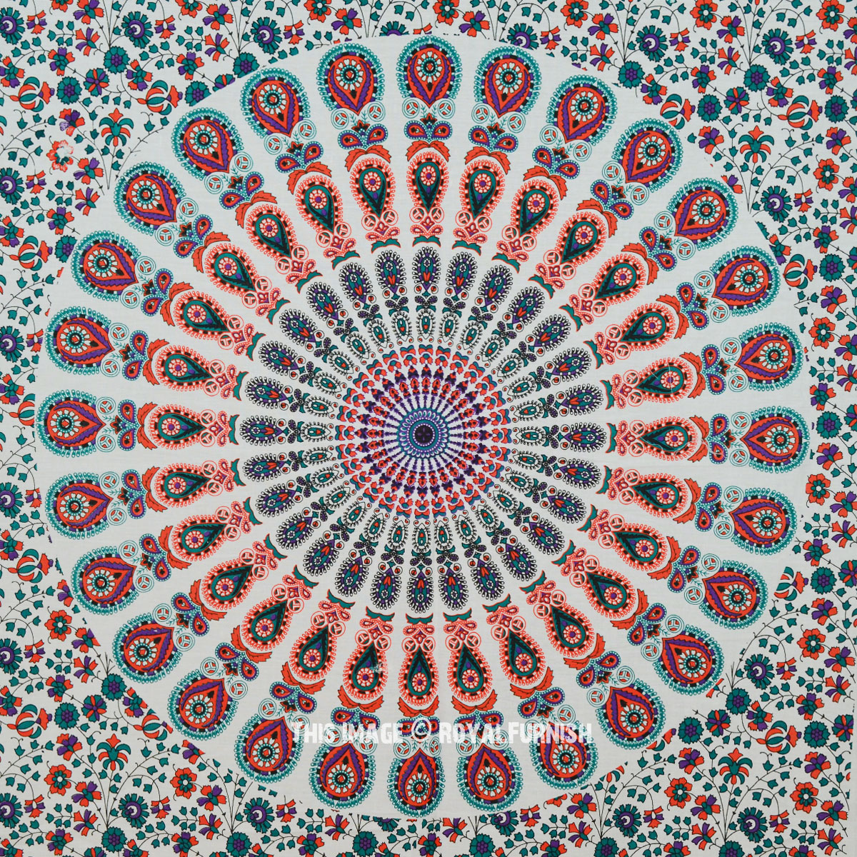White Orange Multi Mandala Poster Tapestry Royalfurnish Com