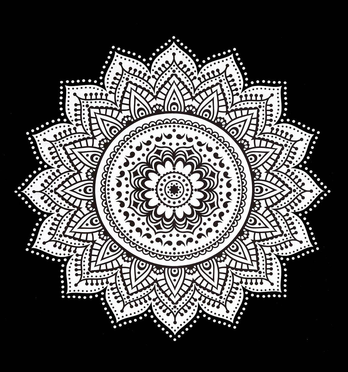 Black Amp White Rangoli Mandala Wall Tapestry Royalfurnish Com