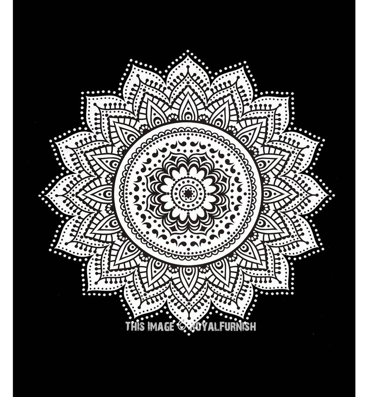 Black white rangoli mandala wall tapestry