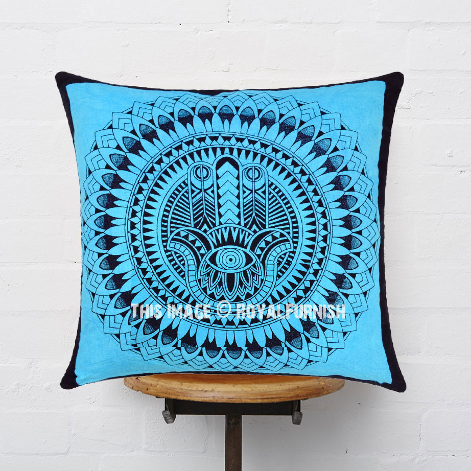 How To Make A Decorative Pillow By Hand : Turquoise Decorative Hamsa Hand Printed Tie Dye Square Throw Pillow Cover 16X16 - RoyalFurnish.com