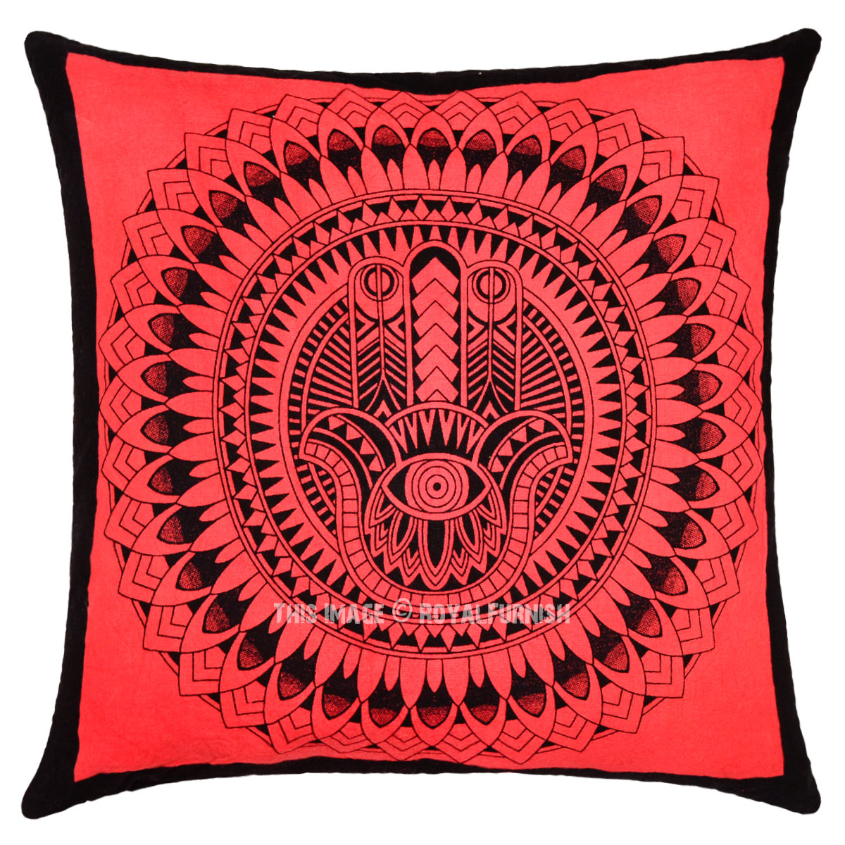 Throw Pillow Cover Only : Red Decorative Hamsa Hand Printed Tie Dye Square Throw Pillow Cover 16X16 - RoyalFurnish.com