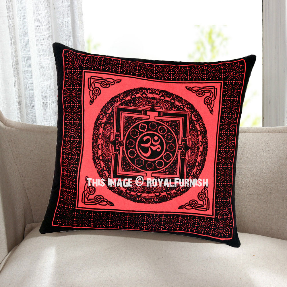 Decorative Pillow Cover Mcqueen Red Multi : Decorative Red Tibetan OM AUM Printed Tie Dye Throw Pillow Cover 16X16 Inch - RoyalFurnish.com