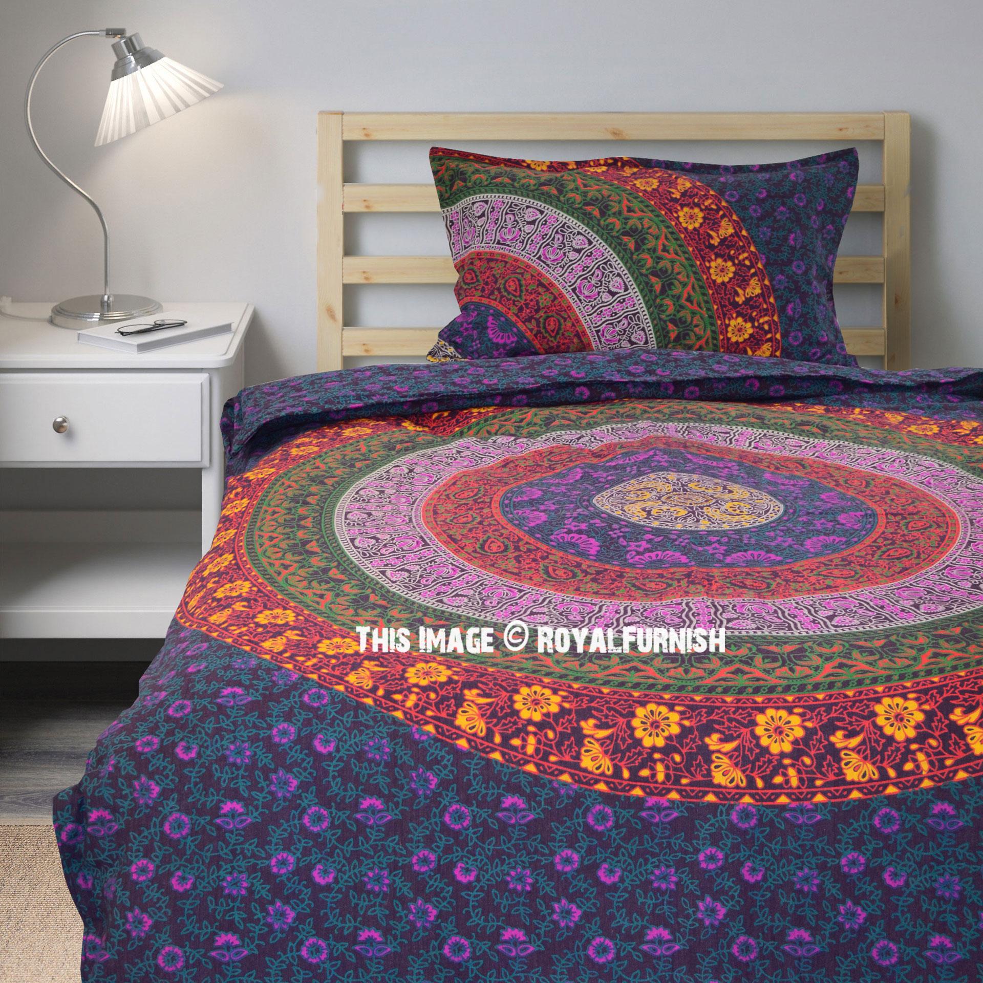 Purple Multi Boho Bedding Mandala Duvet Cover Set with One ...