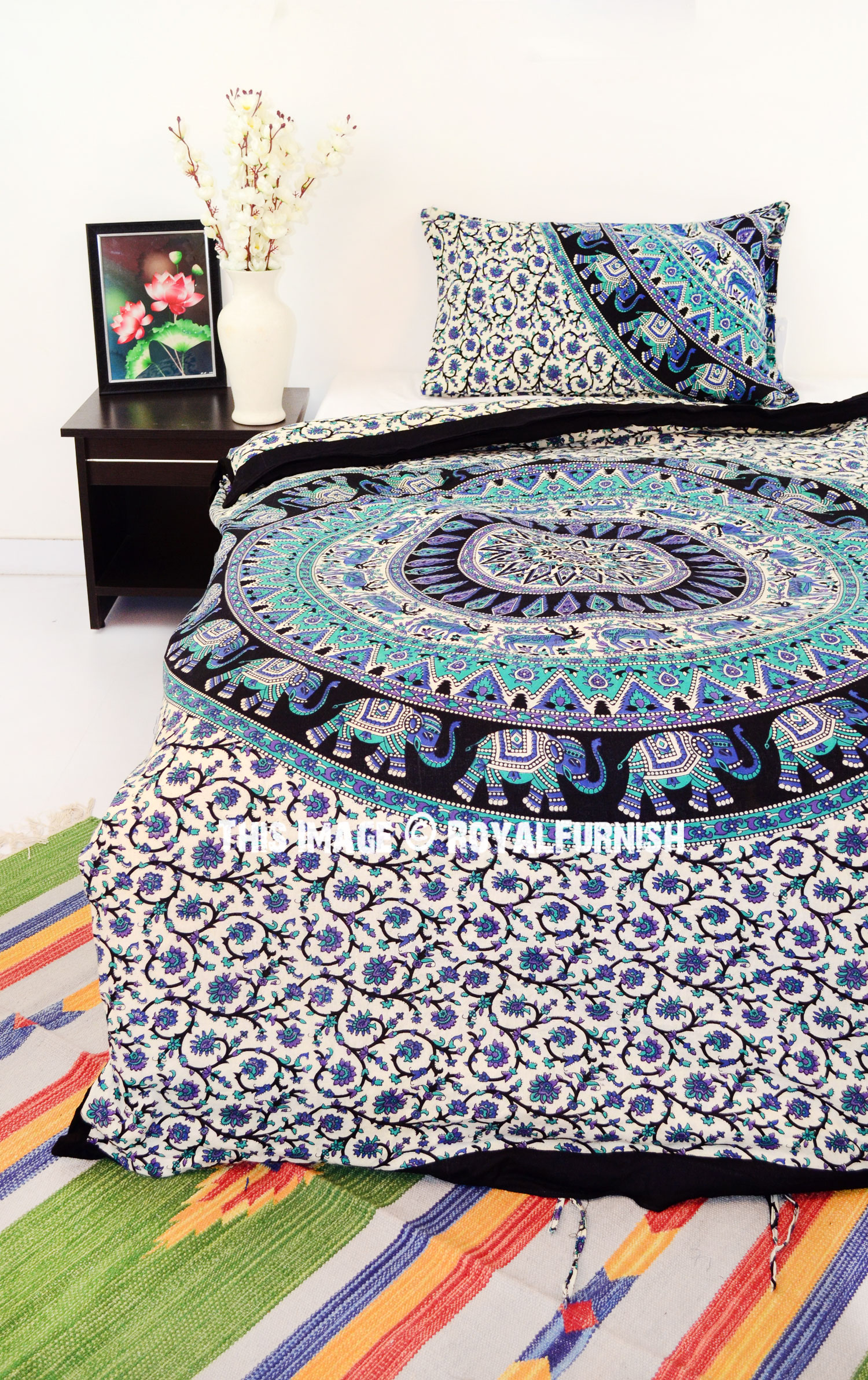 Twin Kerala Medallion Boho Bedding Mandala Duvet Covers