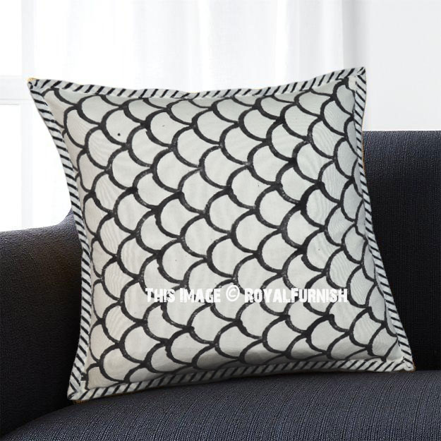 White and Black Modern Scallops Canvas Throw Pillow Case - RoyalFurnish.com
