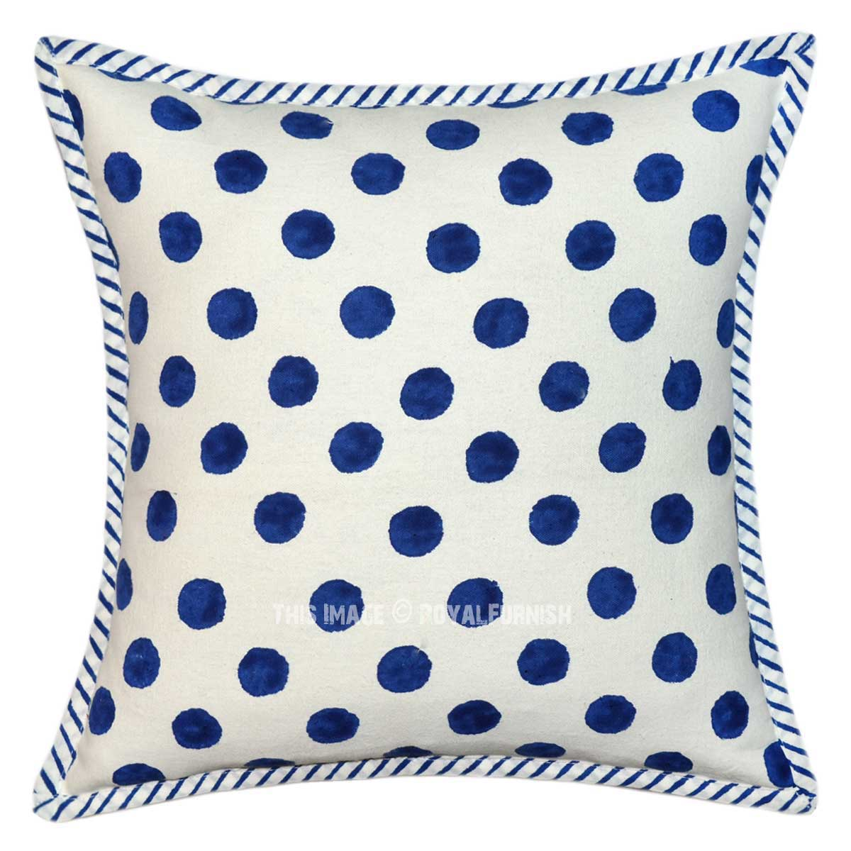 White And Blue Polka Dots Canvas Throw Pillow Cover