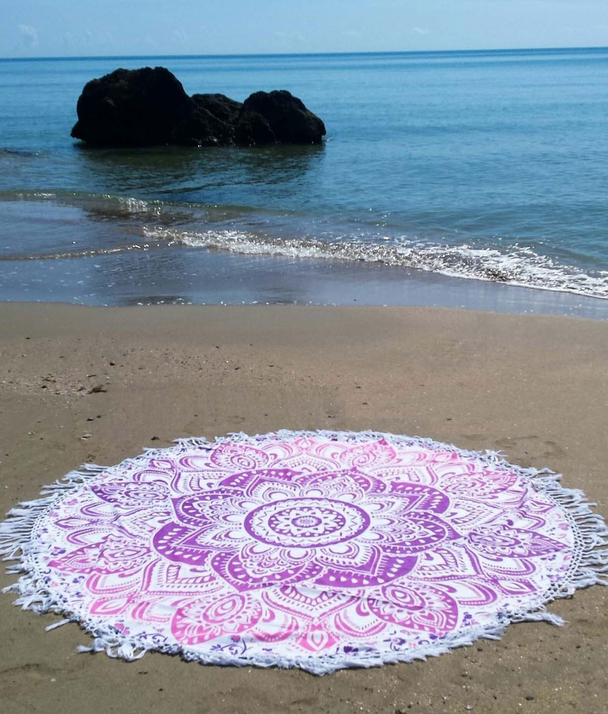 Pink Geometric Ombre Cotton Thin Sheet Beach Towel Throw