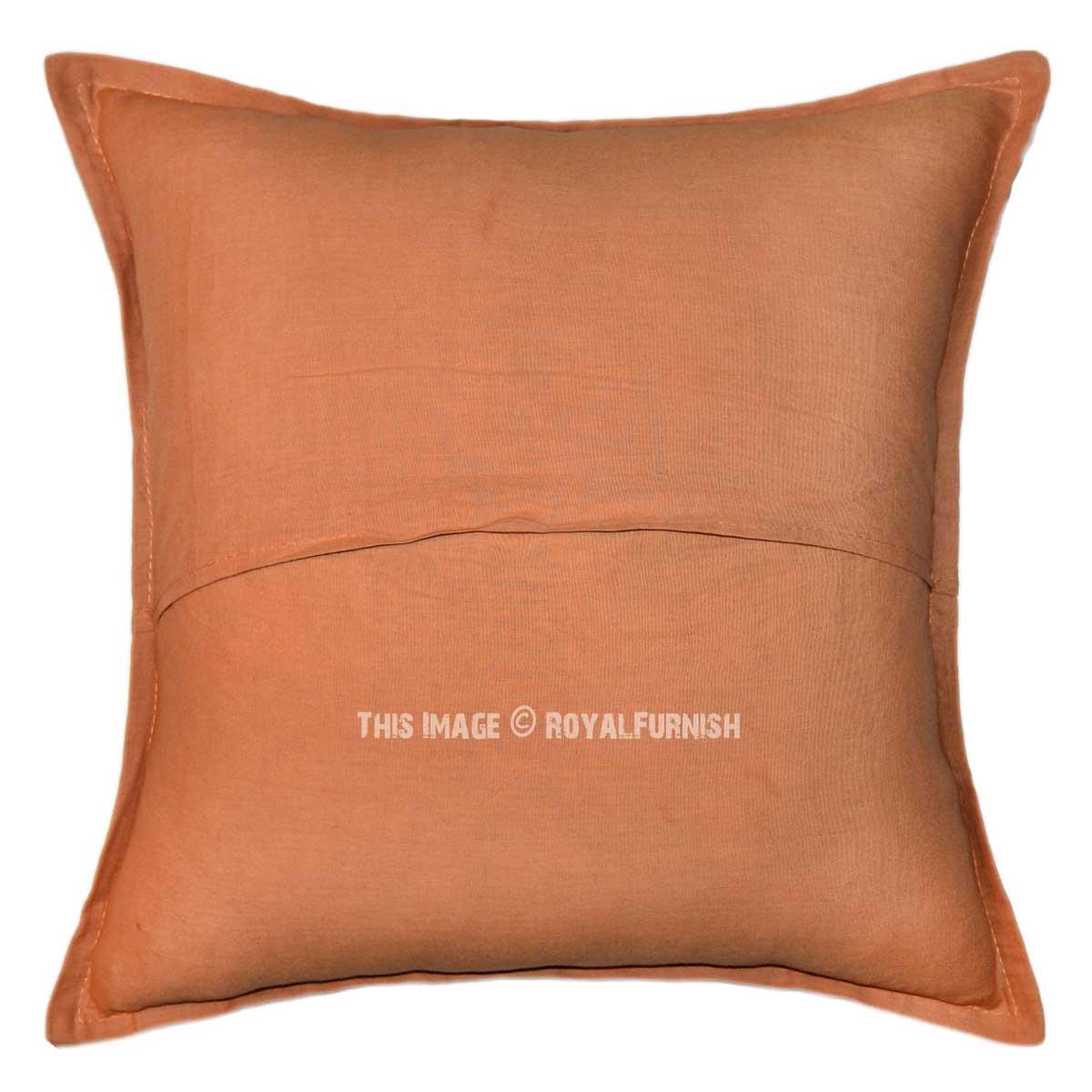 Brown Decorative Applique Designer Throw Pillow Case 16X16 - RoyalFurnish.com