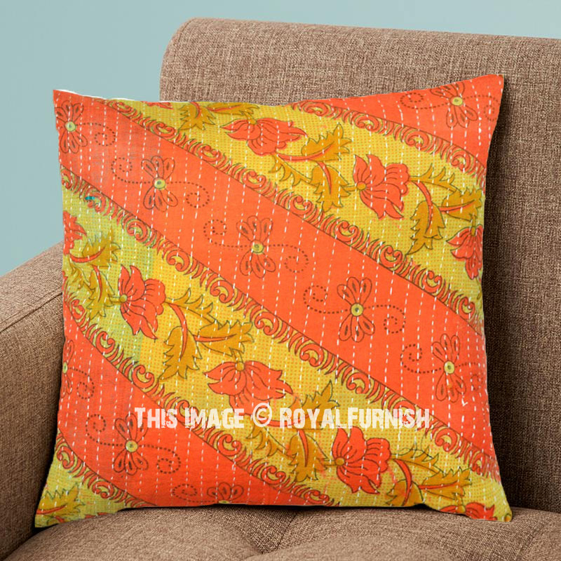 Decorative 16X16 Vintage Kantha Throw Pillow Cover - RoyalFurnish.com