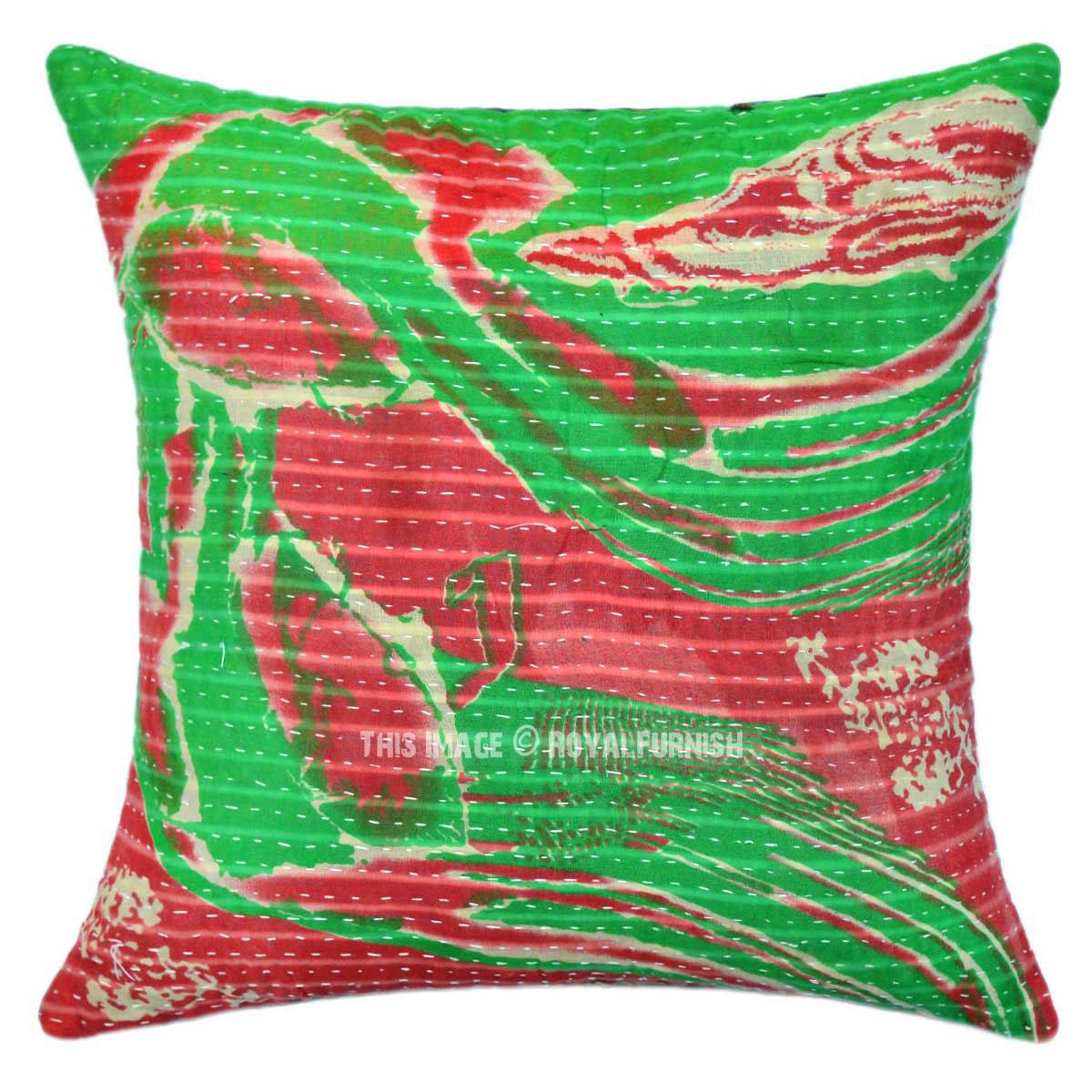 Decorative Green Sea Waves Vintage Cotton Kantha Throw ...