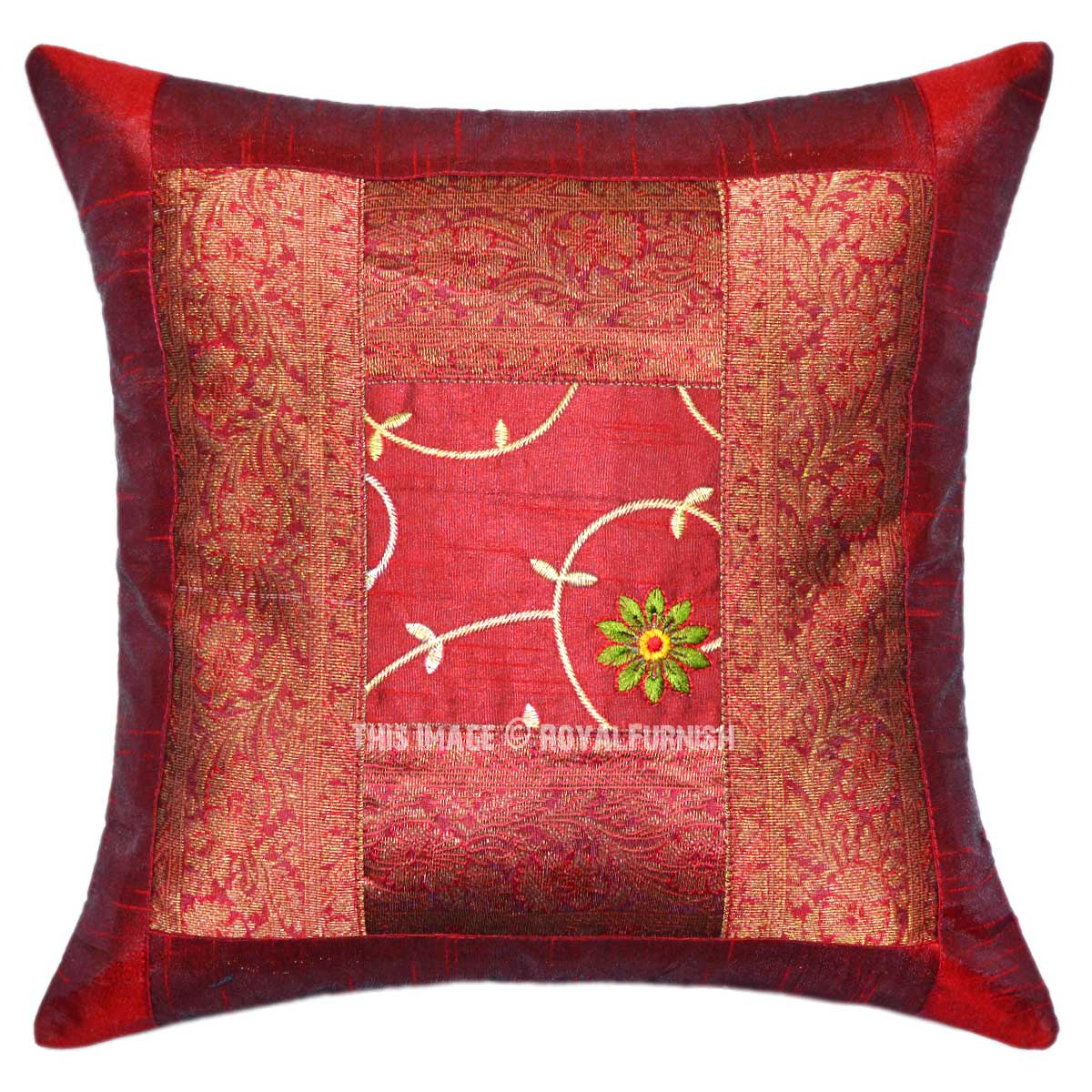 Burgundy Floral Embroidery Hand Work Silk Throw Pillow