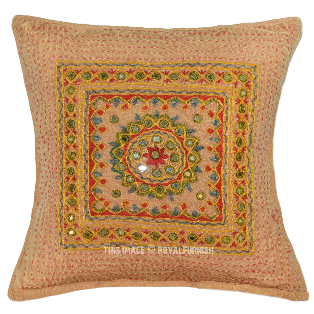 Brown outdoor indoor mirror medallion circle square throw pillow cover 16x16 - What is a throw pillow ...