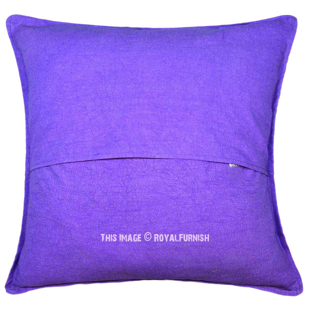 16X16 Purple Peacock Dance Theme Needlepoint Cotton Throw Pillow Cover - RoyalFurnish.com