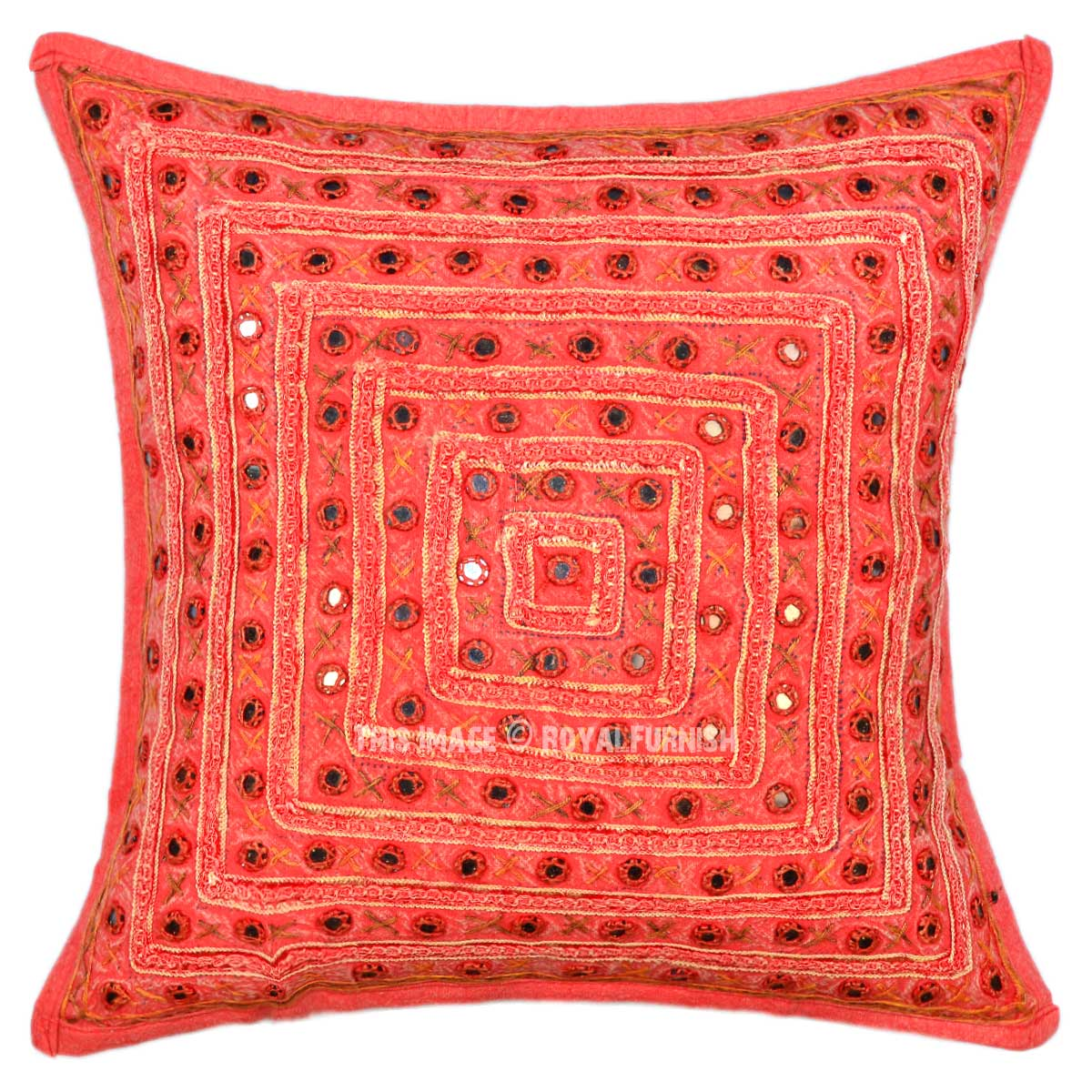 Throw Me A Pillow Coupon Code : Orange 16X16 Old Mirror Embroidery One-Of-A-Kind Cotton Throw Pillow Cover - RoyalFurnish.com