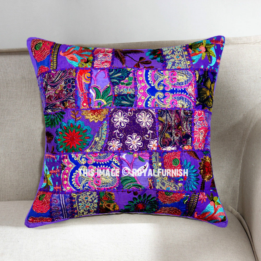 Purple Decorative And Bohemian Accent Unique Patchwork