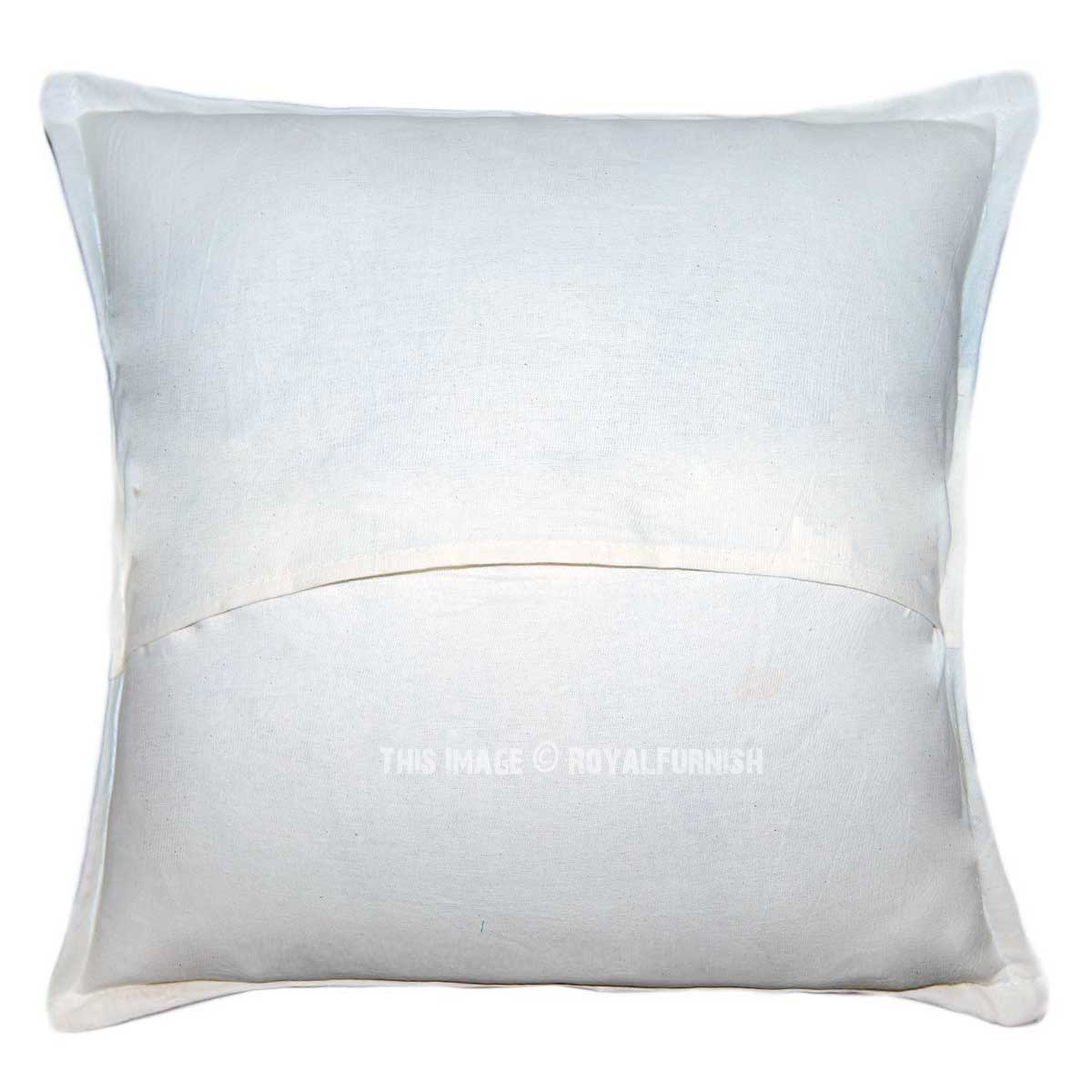 Decorative Pillow Cases White : 20X20 White Multi One-Of-A-Kind Handmade Decorative Pillow Case - RoyalFurnish.com