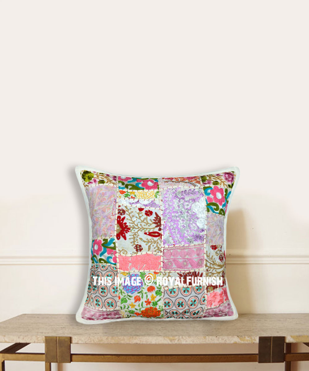 20x20 White Multi One Of A Kind Handmade Decorative Pillow Case