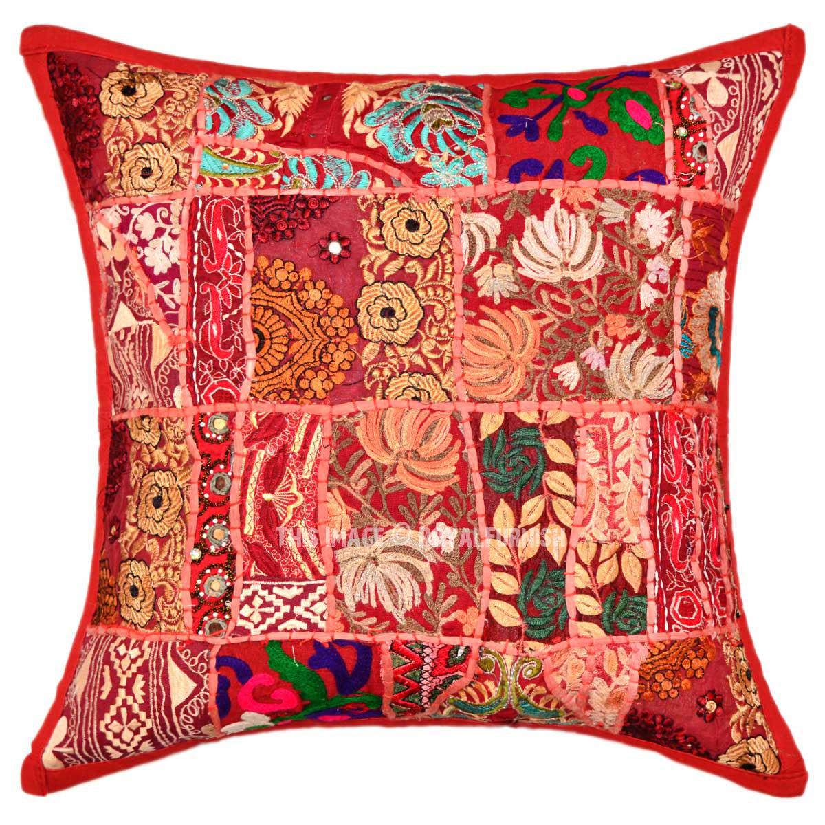 Throw Me A Pillow Coupon Code : 18X18 Red Unique One-Of-A-Kind Patchwork Boho Throw Pillow Sham - RoyalFurnish.com