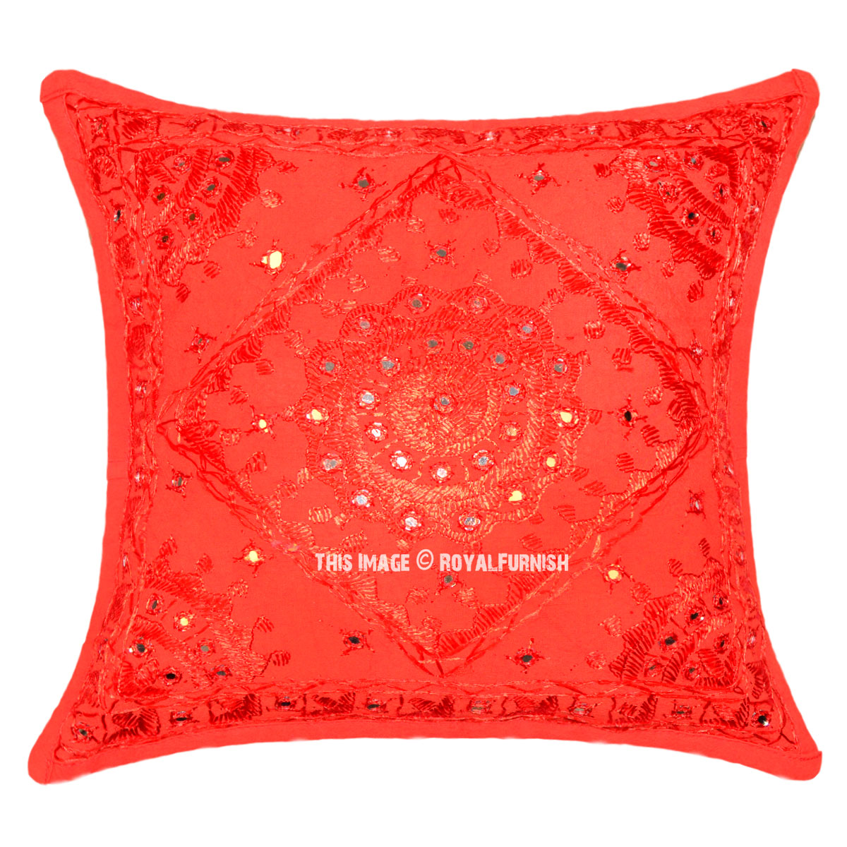 Vibrant Red Star Mirror Embroidered Decorative Square Throw Pillow Cover 16X16 - RoyalFurnish.com
